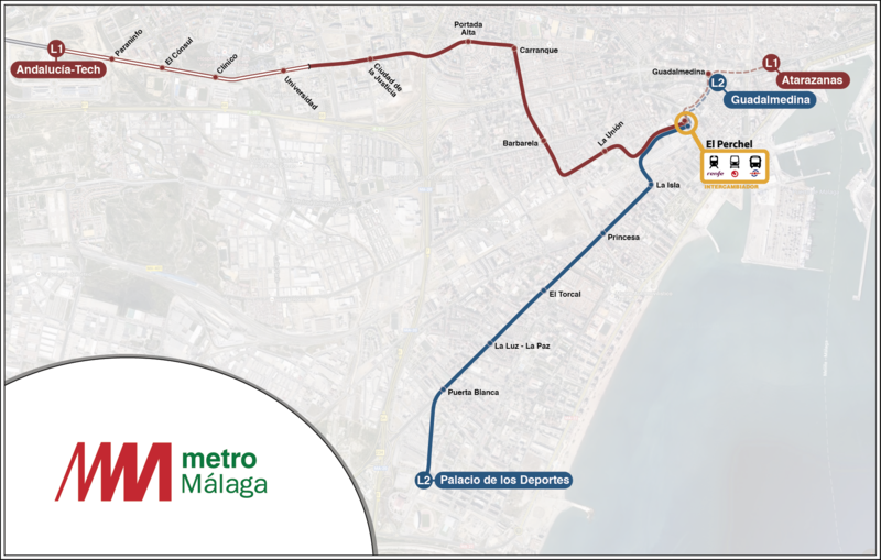 Line 1 and 2 of Malaga Metro